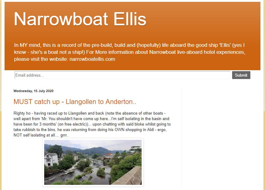 Narrowboat Ellis is one of the narrowboat blogs we love :)