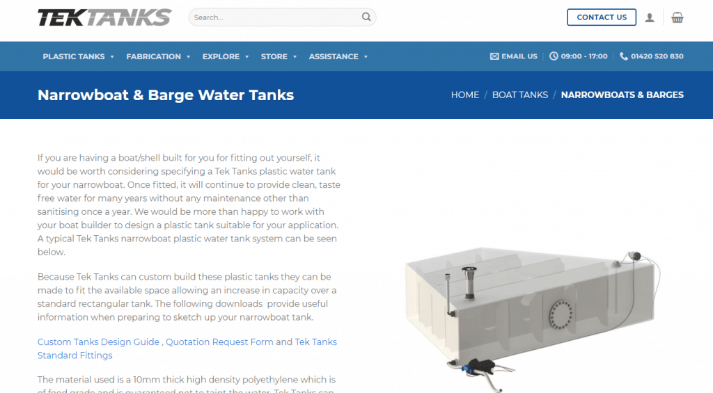 a plastic water tank for a narrowboat.