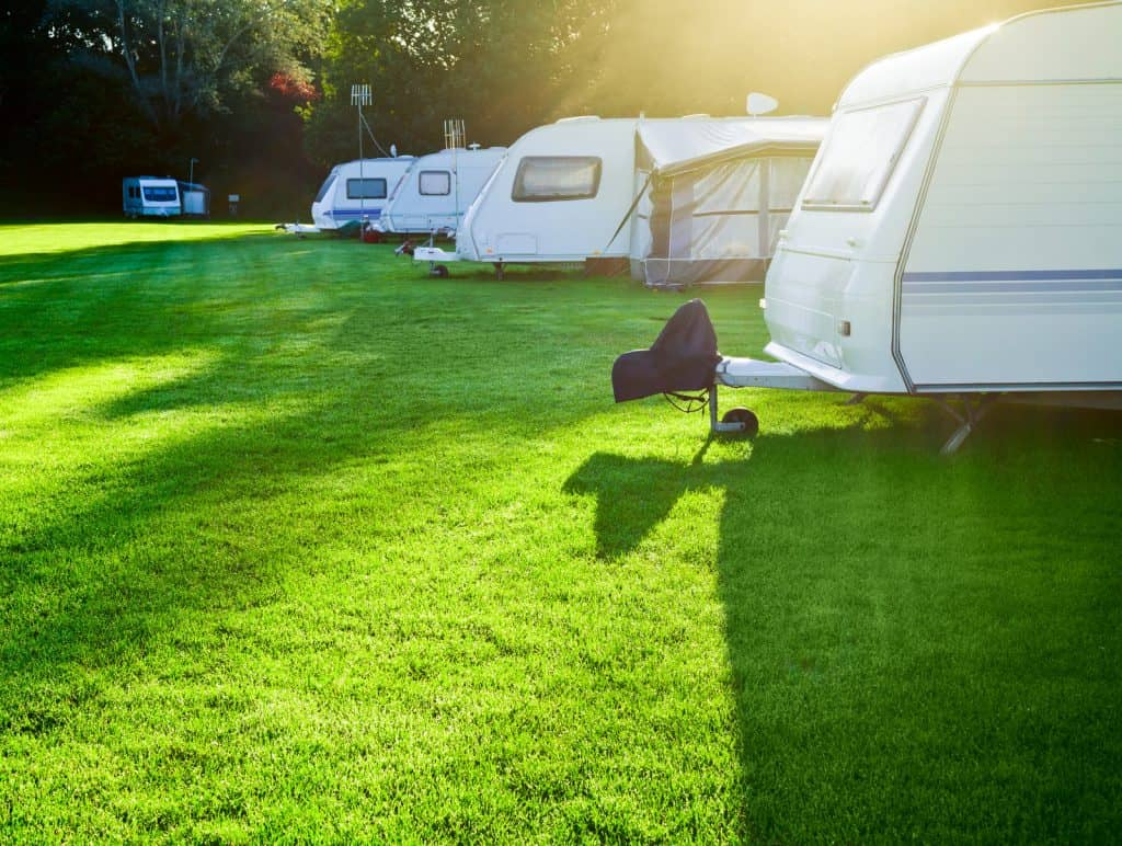 some typical caravans in the UK.